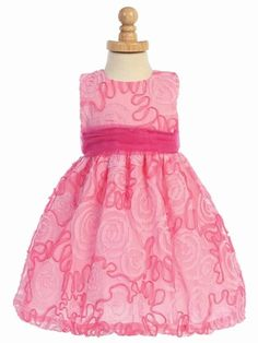 Hot Pink Cerise White Sparkly Flower Girl Wedding Pageant Prom Party Dress 0-24m