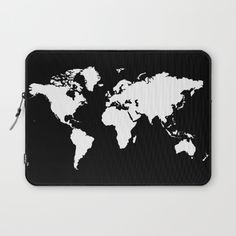 Buy Black white world map Laptop Sleeve by haroulita. Worldwide shipping available at Society6.com. Just one of millions of high quality products available.