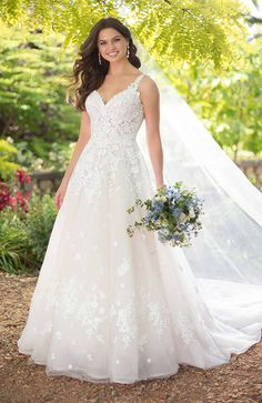 The epitome of romance this Aline wedding dress with floral details from Essense of Australia brings the whimsy of a garden to life Wedding Dresses With Straps, Wedding Dress Trends, Wedding Dresses For Sale, Princess Wedding Dresses, Wedding Dress Styles, Bridal Dresses, Wedding Gowns, Curvy Wedding Dresses, Tropical Wedding Dresses