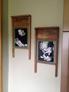 Washboard photo frames - and easy DIY! Diy Bedroom Decor, Living Room Decor, Diy Home Decor, Wall Decor, Country Decor, Rustic Decor, Farmhouse Decor, Primitive Decor, Washboard Decor