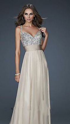 Loving this long prom dress with sequined/beaded bodice... Wow, wow, wow!