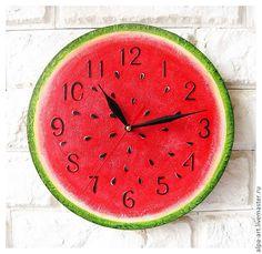"""Купить Часы расписные для кухни """"Арбуз"""" - часы интерьерные, часы необычные, часы настенные, яркие"""
