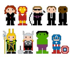 Avengers Pixel People Character PDF pattern by CheekySharkLabs