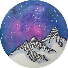 Moon Galaxy Mountain Travel Wanderlust Stars Space Boho Hipster Print
