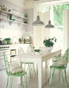 farmhouse table, mint green chairs