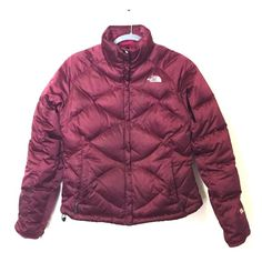 North Face Down Jacket Maroon goose down The North Face Aconcagua Winter Coat. Gently Used, *slight* discoloration on right sleeve but due to the reflective nature of the material you can't tell from any farther than 6 in away. Features: internal pocket, glove snaps, 550 down. Mssg with questions! North Face Jackets & Coats Puffers