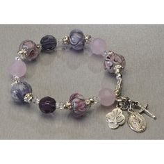 Hand-Blown Glass Pink & Purple Pandora-style Rosary Bracelet, $34.95. Brand new, hand-made in the USA. #CatholicCompany