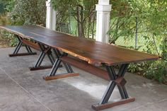 custom live and raw edge walnut tables with steel and walnut base. Raw Furniture, Nordic Furniture, Walnut Dining Table, Dining Tables, Reno, Next At Home, Raw Edge, Contemporary Design, Wood Projects