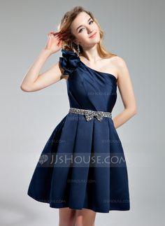 Vestidos princesa/ Formato A Um ombro Joelho de comprimento Cetim Vestido de boas vindas com Cintos Bordado Curvado (022019553)
