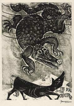 Antonio Frasconi. The dog and the crocodile: an Aesop's Fable. 1950. woodblock print.