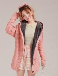 Pink Cable Knit Wide Fit Warm Lining Button-Through Asian Fashion Hoodie