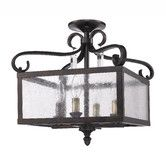 Found it at Wayfair - Valencia 4 Light Semi Flush Mount bronze lantern
