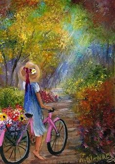 "ACEO Miniature Painting ""An Early Morning Bike Ride"" Girl,Flowers,Woods,K.Manuel in Art, Direct from the Artist, Paintings 