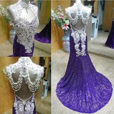 Custom made Sexy 2014 Luxury Exquisite Mermaid Beading purple Sequined Court-train women party gown prom dress evening dresses