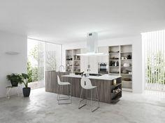 Moderne Küche mit Regalsystem und Kochinsel