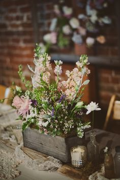 10 Trending Spring Wedding Ideas: Skip the vases for your wedding centerpieces and use flower boxes for your wedding flower arrangements. Barn Wedding Centerpieces, Wildflower Centerpieces, Wedding Decorations, Chalkboard Centerpieces, Wooden Centerpieces, Table Decorations, Flower Box Centerpiece, Succulent Centerpieces, Centerpiece Ideas