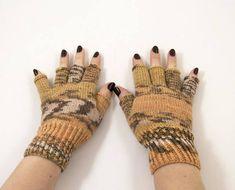 Hand Knitted Fingerless Mittens Fingerless Gloves Brown