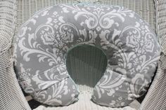 Gray Damask and Tiffany Minky Boppy Cover by DesignsbyChristyS