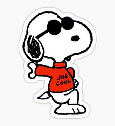'The Peanuts - Snoopy Joe Cool' Sticker by ray-bolt Charlie Brown Y Snoopy, Snoopy Love, Snoopy And Woodstock, Cartoon Stickers, Tumblr Stickers, Diy Stickers, Snoopy Tattoo, Cool Laptop Stickers, Charlie Brown Characters