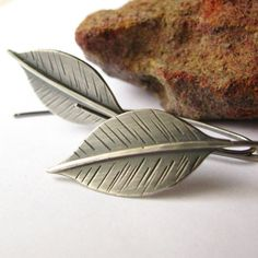 Long Leaf Earrings - Sterling Silver Leaves - Silver Leaf Jewelry - Metalsmith Argentium Silver Jewelry - Nature Jewelry via Etsy