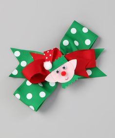 Take a look at this Bearington Collection Green Polka Dot Lil' Elf Bow Clip on zulily today!