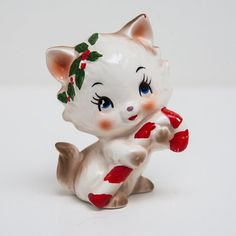 Vintage Lefton Christmas Cat with Candy Cane  by OneLeggedCricket