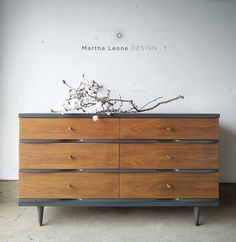 Mid century 6 drawer dresser in signature colors and knobs by Martha Leone Design