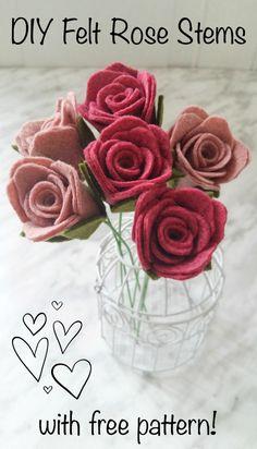 DIY Felt Rose Stems – With Pattern   Wildflower Felt Designs