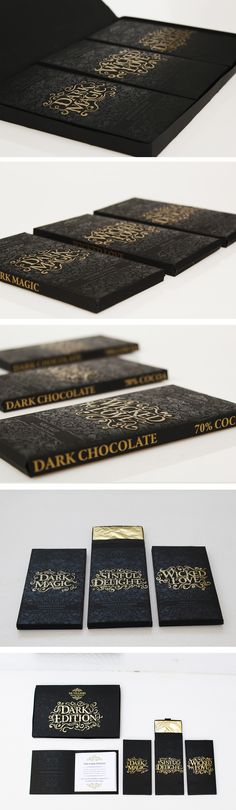 Chocolate Packaging.The design concept was to create packaging that looks beautifuly dark and deadly- as chocolate is a forbidden temptation that we all give into. Created by Ashton Winkworth. Find more of my work through the link : https://www.behance.net/Ashtonwinkworth3