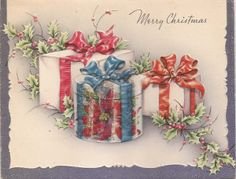 Vintage Christmas card - gifts - cover