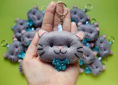 Felt Cat keychain - Chaveiros de feltro - gatinhos