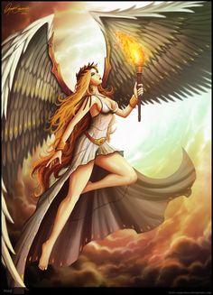A DEUSA DA VITÓRIA Nike, uma deusa alada, é a personificação da vitória na mitologia grega. Representada sempre com uma coroa de ouros (aquela que era prêmio em esportes competitivos na Grécia Antiga) e com grandes e majestosas asas brancas. Nike era filha do titã Pallas com Estige, esta ás vezes considerada ninfa, em outras, deusa dos juramentos inquebráveis (esta última mais comum). Nike aliou-se a Zeus, junto da mãe e dos irmãos (Bia, Zelus e Kratus) na famosa Titanomanquia.
