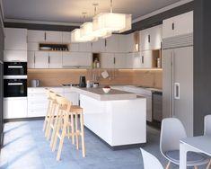 Amenajare bucatarie deschisa - Bucatarie alba - Design interior - Open kitchen design - White kitchen - wood backsplash Design Projects, Interior Design, Furniture, Home Decor, Houses, Interiors, Design Interiors, Home Furnishings, Home Interior Design