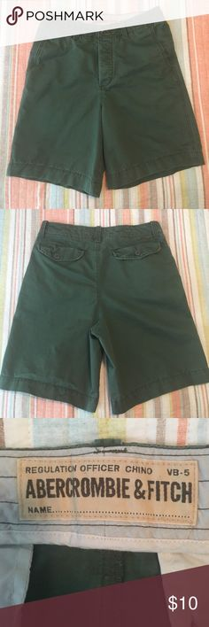 Abercrombie & Fitch Men's Chino Shorts Very good condition, men's cotton chino shorts. Green. Four button fly. Perfect for summer! Abercrombie & Fitch Shorts
