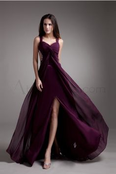 33ab332e82633 sexy slit sweetheart plum satin and chiffon floor length prom dress with  wide straps