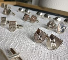Unique Custom Family Crest Tie Pins and Cufflinks. Made in Ireland by Jewellery Designer and Silversmith Eileen of Claddagh Design Father Of The Bride, Gifts For Father, Mens Silver Jewelry, Bride And Groom Pictures, Irish Jewelry, Family Crest, Claddagh, Signet Ring, Luxury Gifts