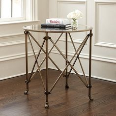 "Olivia 30"" Round Mirrored Side Table"