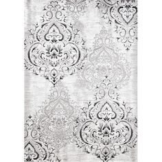 The Platinum Venetian Silver Damask Rug from the Kalora Interiors Platinum Collection features a lovely Damask pattern in silvers, grays, and whites, adding texture and depth to the rest of your modern elegant or transitional-style decor. Damask Rug, Damask Wallpaper, Art Chinois, Home Modern, Platinum Grey, Art Japonais, White Area Rug, Throw Rugs, Grey And White
