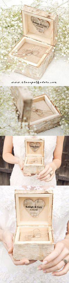 Rustic Ring Bearer Birch Bark Box #countryweddingideas #realwood