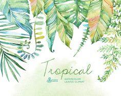 Hojas de acuarela tropical. Pintado a mano por OctopusArtis en Etsy