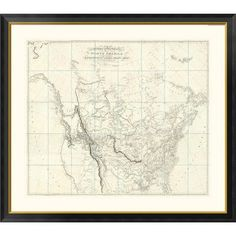 "Global Gallery 'New Discoveries in the Interior Parts of North America, 1814' by Aaron Arrowsmith Framed Graphic Art Size: 24"" H x 26"" W x 1.5"" D"