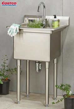 Luxury Garage Utility Sink with Cabinet