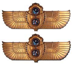 Rare Pr. of Tiffany Cast Bronze Egyptian Revival Wall Scones/Plaques #6451  ebay  asking 50,000.00