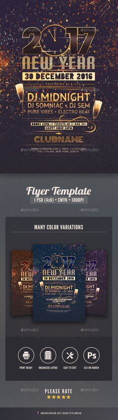 This flyer template is designed to announce New Year events. Spectacular firework, vibrant colors and bold type are some of the elements that reflect the sparkling atmosphere during New Year's Eve.