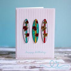 Hawaiian Birthday Surfboards card  Surfboard Trio stamp  by @Kanani K