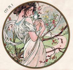 Alphonse Mucha - Month's of the Year - May - Art Nouveau Art Nouveau Mucha, Alphonse Mucha Art, Art Nouveau Poster, Art And Illustration, Jugendstil Design, Kunst Poster, Inspiration Art, Arte Pop, Grafik Design