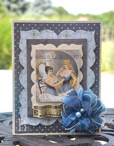 Vintage Blue Card #Spellbinders, #SCRAPBOOK ADHESIVES BY 3L