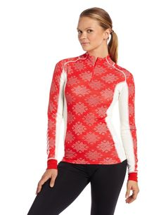 Helly Hansen Womens Warm Freeze 1/2 Zip Baselayer L/S Top: Alert Red/White