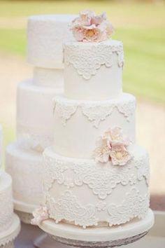 Vintage Lace Wedding Cake by Banphrionsa