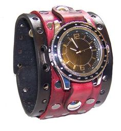 Eastern Oregon Leather Co. - Item 051210 - Leather Wrist Cuff Bracelet Red Black Steel Rivets 2.25 Inches Wide, $38.95 (http://www.easternoregonleather.com/item-051210-leather-wrist-cuff-bracelet-red-black-steel-rivets-2-25-inches-wide/)